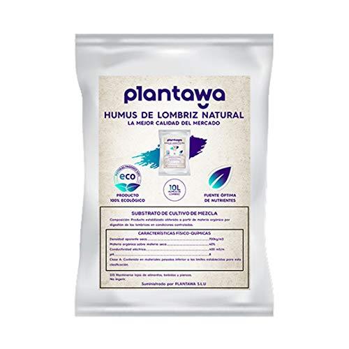 PLANTAWA Humus de Lombriz, Saco de Hummus de Lombriz 5 Kg (10L). Abono para Plantas. Natural Huerto Urbano