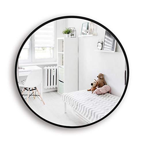 Muzilife Runder Spiegel 60cm mit Schwarzem Metallrahmen Glas Wandspiegel mit Halterung zum Aufhängen in Wohn- und Badezimmer