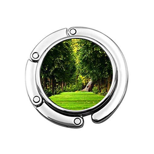 Green Nature in The Forest - Colgador de mesa para bolsos de escritorio, diseño único, plegable, para almacenamiento, bolsa de mesa, gancho para colgar