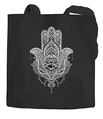 Bolsa de yute Hamsa Fátimas Mandala Boho Bohamian Ethno Tribal ornamentación Bolsa de algodón Bolsa de tela Autiga® Negro 2 asas largas