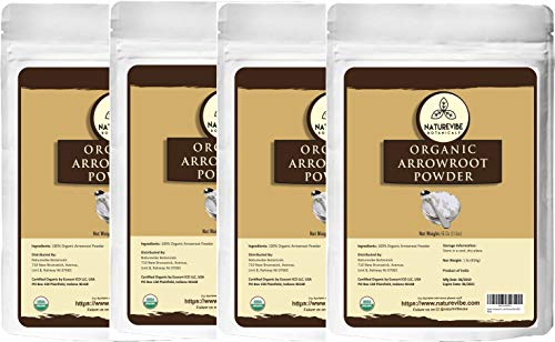 Naturevibe Botanicals Organic Arrowroot Powder, 4 lbs | Arrowroot Flour or Arrowroot Starch | Gluten Free and Non-Gmo | Cooking and Baking | Thickening Agent | Packaging may vary.