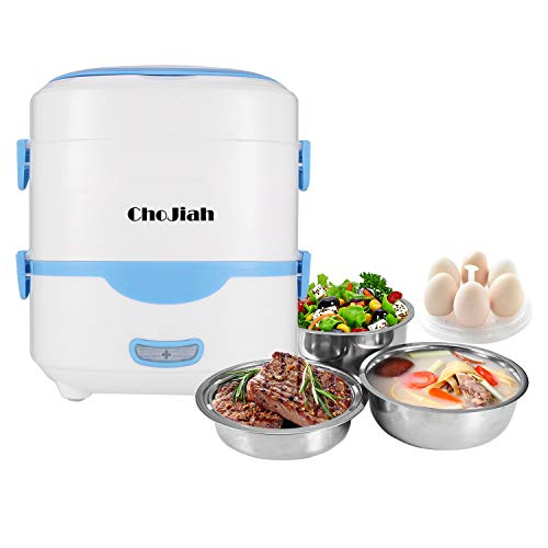 ChoJiah Self Cooking Electric Lunch Box, Mini Rice Cooker, Multi-function Cooking Steaming Lunch Box for Home Office School Cook Raw Food, 1.5L/110V/ Blue
