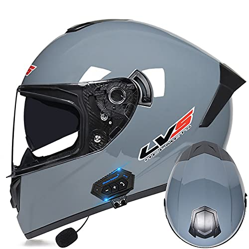 Casco De Moto Bluetooth Integrado Protección De Seguridad, Cómodo, Transpirable Y Antivaho con Doble Visera, Casco Anticolisión De Motocicleta De Carreras Certificado ECE