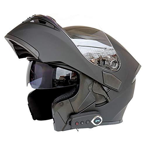 "Motorcycle Bluetooth Helmets Full Face Flip up Dual Visors Helmet Built-in Integrated Intercom Communication System (Matte Black, XL-24-24.4"")"