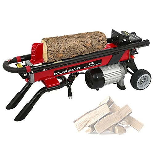 PowerSmart Log Splitter Electric, 6-Ton Hydraulic Log Splitter, 15 Amp Electric Log Splitter,...