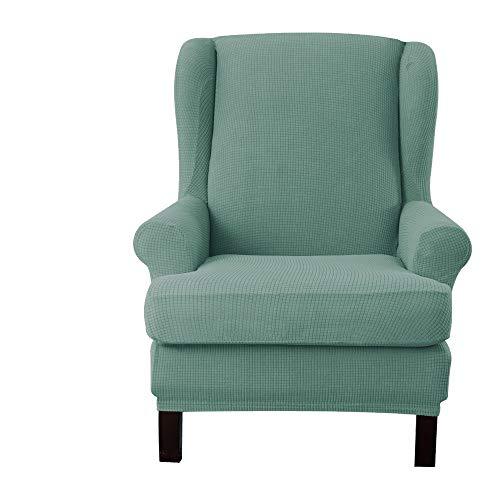 E EBETA Jacquard Sesselbezug, Sessel-Überwürfe Ohrensessel Überzug Bezug Sesselhusse Elastisch Stretch Husse für Ohrensessel (Hellgrün)