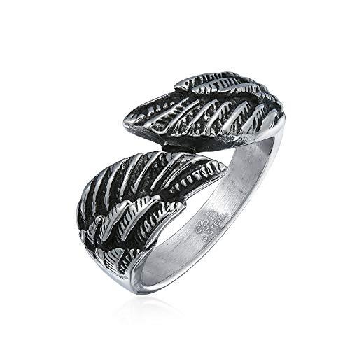 Bling Jewelry Religiöse Engelsflügel Feder Wickelring Band Ringe Für Herren Für Damen Oxidiert Edelstahl