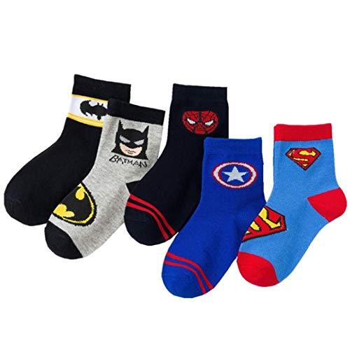 5 Pairs Boys Socks Kids Superhero Adventures Spiderman Captain America Superman Batman Athletic Socks (4-6T)
