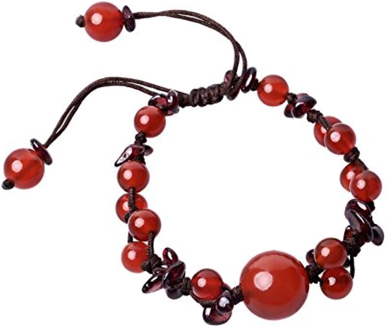 Olici Ladies And Teen Girls Elastic Beaded Charm Bracelet Garnet Original Jewelry Retro National Wind Hand Ornament Hand String Wrist Perimeter