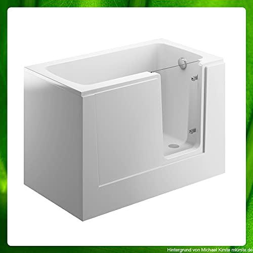 Sitzbadewanne mit Tür - begehbare Badewanne - Seniorenbadewanne Wannenverkleidung weiß