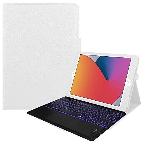 7色バックライト iPad10.2/ Pro10.5 / Air3 キーボード iPadキーボード レザーケース キーボードタッチパッド付き Bluetooth キーボード iPadワイヤレスキーボード スタンド機能 カバー (ホワイト)
