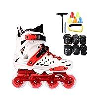 インラインスケート、 大人用1列スケート ローラースケート プロの男性と女性のスケート フルセット(白赤) インラインスケート (Color : Red+B, Size : 38 EU/6 US/5 UK/24cm JP) [並行輸入品]