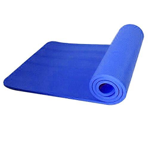 Dire-wolves - Tappetino per yoga, 10 mm, super morbido, extra spesso, antiscivolo, per esercizi, fitness, palestra, pilates, Donna, Blu, 183x61x1cm