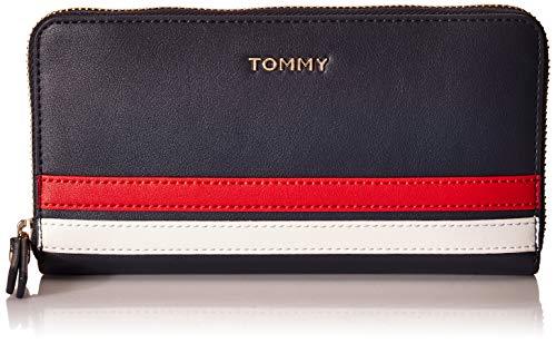 Tommy Hilfiger Damen Geldbörse Geldtasche Portemonnaies Tommy Staple L Zip Blau