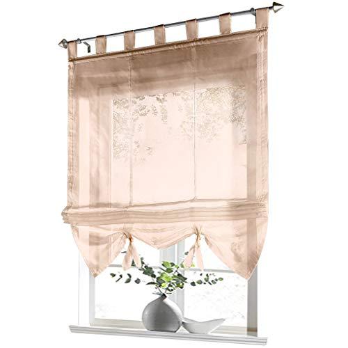 ESLIR Raffrollo mit Schlaufen Gardinen Küche Raffgardinen Transparent Schlaufenrollo Vorhänge Modern Voile Sand BxH 80x155cm 1 Stück