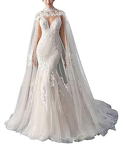 vipgowns Brautkleid Zubehör Abend Capes Spitze Bolero für Braut Wraps Elegante Bridal Mantel Umhang (Weiß, 200cm)