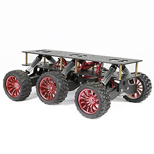 TMIL 6WD Metallroboter Cross-Country-Chassis, DIY Smart Car Platform Für Arduino Roboter WiFi Auto, Dämpfung Design Off-Road Climbing Chassis Für Raspberry Pi