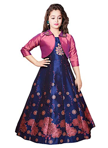Wommaniya Impex New Digital Printed Art Silk Jacket Style Gown for Girls Maxi Dress (5-6 Years, Pink)