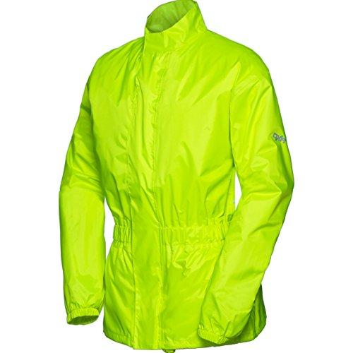 DXR Regenjacke, Regenschutz, Fahrrad Regenbekleidung Textil Regenjacke 1.0, Regenjacke wasserdicht, Unisex, wasserdicht durch verschweißte Nähte, inklusive Mini-Packsack, Polyester, Neon-Gelb, L