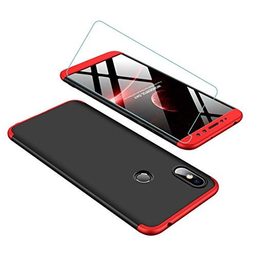JOYTAG compatibles para Funda Xiaomi Redmi S2 360 Grados Caja 3 en 1 PC Case + Protectora de película de Vidrio Templado-Rojo Negro