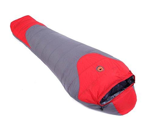 Sac de couchage pour les momies blanches duvet de canard Adultes Hiver plus épais équipement de camping -10 ° C-20 ° C , red