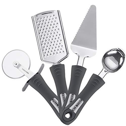 Philwin, set di 4 utensili da cucina, include grattugia per formaggio e scorza di limone, tagliapzza, buccia per pizza, paletta per gelato