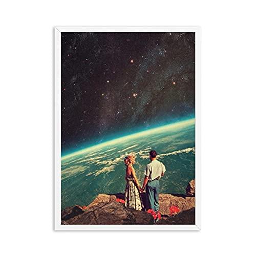 Abstracto Lienzo de Impresiones artísticas del Cielo Nocturno Carteles de Lienzo de la Tierra surrealismo Galaxia Espacio Luna imágenes de Pared cósmica decoración de Ciencia ficción 60x90cm