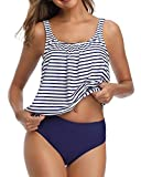 Yonique Blouson Tankini Swimsuits for Women Loose Fit Floral Printed Two Piece Bathing Suits Blue Stripe S