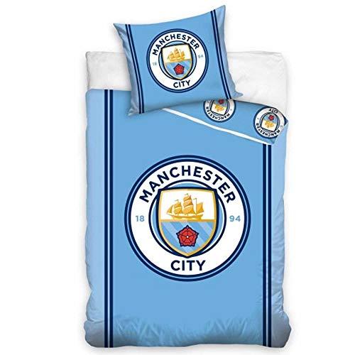 Official Licensed Manchester City Single Duvet Cover & Pillowcase Set (100% Cotton)