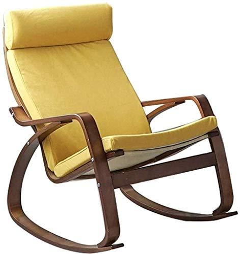 YAOHONG Colchonetas, sillas portátiles, Cojines, Patio Interior y Exterior terraza en el jardín, sillas Plegables de Cubierta Cómodo sillón reclinable (Color : Yellow+Dark Frame)