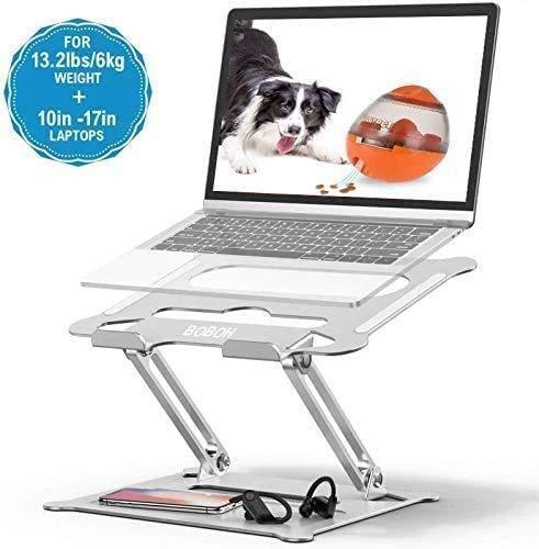 Soporte de Portátil,BOBOH Aluminio Soporte para Laptop Portátil Plegable y Ajustable Soporte Ordenadores para Todos Los Portátiles 11-17 Pulgadas MacBook/Ordenadores Portátiles/Notebook/DELL/HP/Lenovo