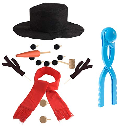 Bigbigjk Snowman Kit for Kids , DIY Mini Christmas Snowman Decorating Kit & Snowballs Maker Snowball Tool Hat Scarf Wooden Carrot Kids Snow Toys Dressing Making Kit for Winter Outdoor