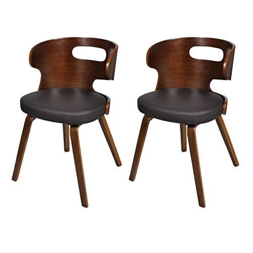 vidaXL Set de 2 sillas de Comedor de Cuero Marco De Madera Marrón Recortable