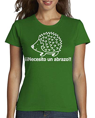 latostadora - Camiseta Necesito un Abrazo para Mujer Verde L