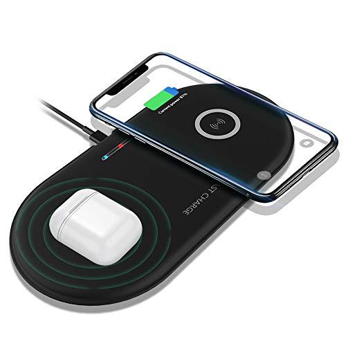 Kabellos Ladegerät Qi Ladestation Dual 10W Schnelles Induktions Ladekissen Kompatibel mit AirPods Pro/2,Galaxy Buds,iPhone 11 Pro/11/XS Max/XR/X Samsung Galaxy S10/S9/S8 und alle Qi-fähigen Telefone