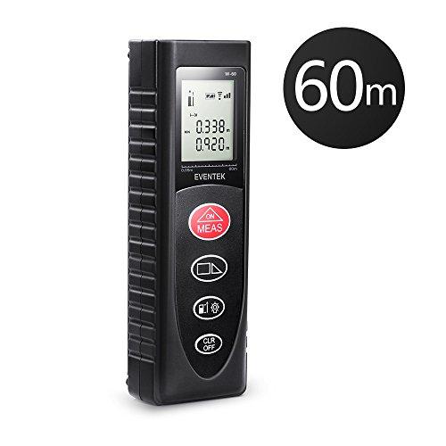 eventek Telemetro Distanziometro Laser Professionale 60m, Precisione 2,0mm, Misuratore Laser Portatile per Misurare la Distanza, Area, Volume, Facile da Usare, Display LCD, Batteria Inclusa