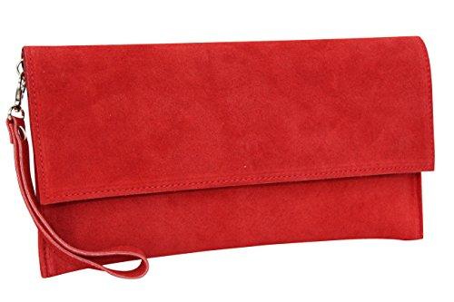 AMBRA Moda Damen Wildleder Clutch Handtasche veloursleder Tasche Handschlaufe WL811 (Rot)
