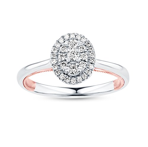 Life More Dazzling 10K White Gold Oval Diamond Ring with Rose Gold Milgrain Heart (1/4CTW, I2 Clarity) (0.25 Ct Dazzling Diamond)
