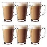 Glow Set of 6 Latte Glasses – Premium Pack of Stylish 11cm Cafe Mugs Cups 240ml - Ideal for Tea, Coffee, Latte, Cappuccino, Espresso, Hot Chocolate and More