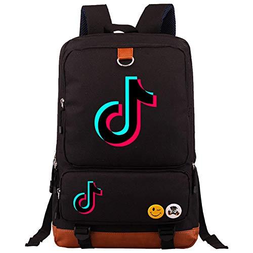 TIK Tok vibrato Young Student Schoolbag Fashion Men and Women Backpack Travel Bag-black5_02