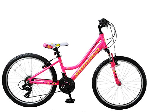 Ammaco. Lush 24' Wheel Girls Kids MTB Mountain Bike Hardtail Front Suspension Hot Pink Yellow 13' Frame Lightweight Alloy 21 Speed Age 8+