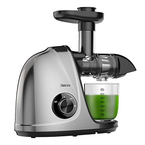 Juicer Machines, Jocuu Slow Masticating Juicer Extractor Easy to Clean, Cold Press Juicer with Two Speed Modes, Quiet Motor, Reverse Function, for Fruits and Vegtables, with Brush and Recipes