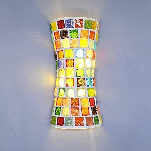 Lámpara de pared de cristal manchada de estilo bohemia moderno, LED (33 cm) Arriba y abajo Doble escalera Dormitorio Luz de Luz Aplique Sponces Árabe Marruecos Estilo árabe