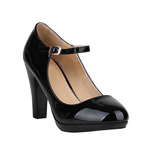 Damen Pumps Mary Janes Blockabsatz High Heels T-Strap 155273 Schwarz Lack Agueda 36 Flandell
