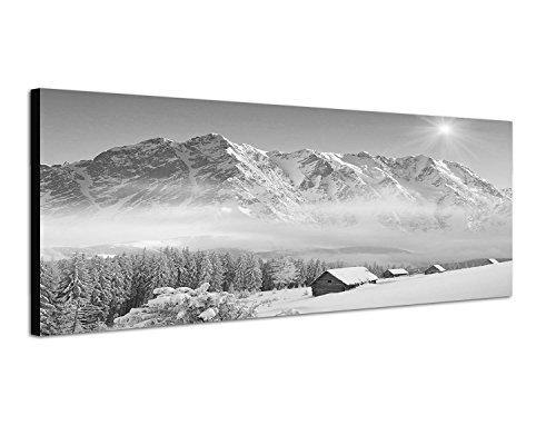 Augenblicke Wandbilder Keilrahmenbild Panoramabild SCHWARZ/Weiss 150x50cm Winterlandschaft Berge Wald Häuser Schnee