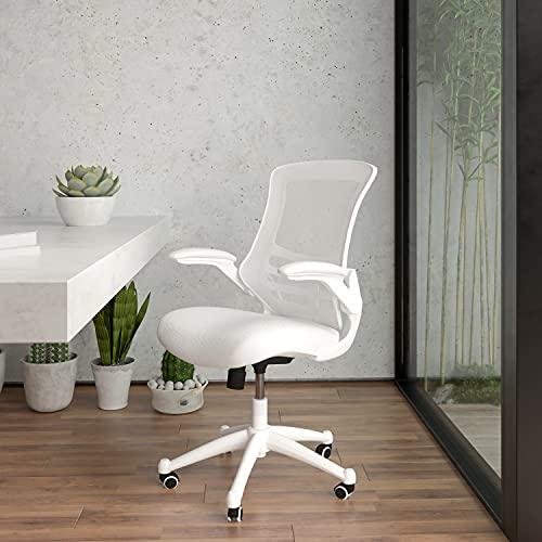 Flash Furniture Silla de escritorio ergonómica, giratoria, respaldo medio, de malla, armazón blanco y reposabrazos abatibles, color Blanco