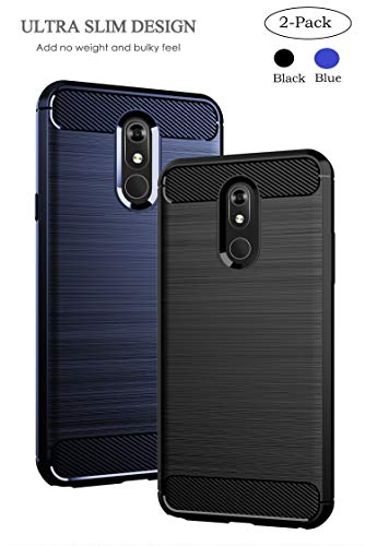 Sfmn 2-Pack Case for LG Stylo 5 Case Carbon Fiber Brushed Texture Soft TPU Full-Body Protective Cover Phone Case for LG Stylo 5 Phone Case (Black+Blue)