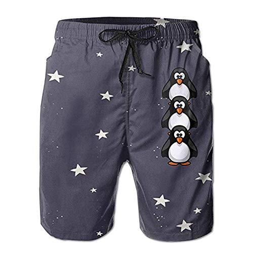 Bebé Pingüino Animales Bañador Secado rápido Tabla de Playa Inicio Deportes acuáticos Pantalones Cortos para Hombres M