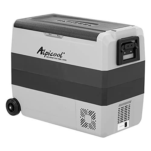 Alpicool T60 - Frigorífico portátil de 60 litros, 12 V, 24 V, nevera eléctrica para coche, camping, camión, barco y enchufe con puerto USB