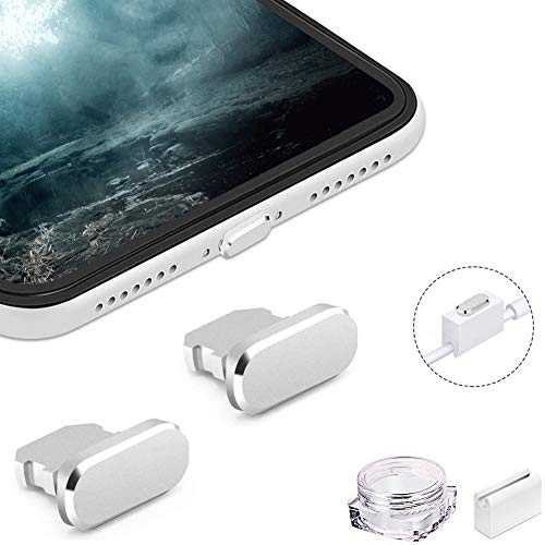 VIWIEU Metal Anti Dust Plug for iPhone 12 Mini Pro Max 11 iPad AirPods, 2 Aluminum Lightning Charging Port Cover Compatible with iPhone X, XS, XR, 8, 7, 6 Plus with Plug holder and Carry Box (Silver)
